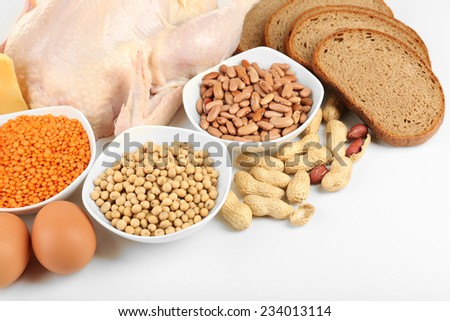 Food high in protein closeup - stock photo