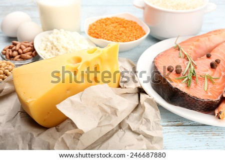 Food high in protein on table, close-up - stock photo