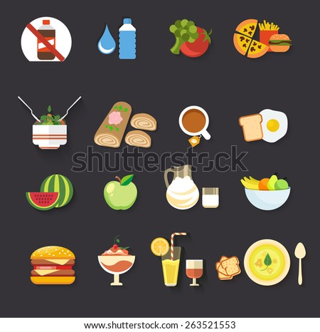 Food icons collection for restaurant menu isolated on black background. Raster version