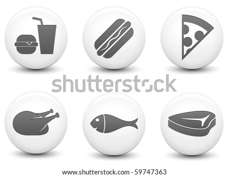 Food Icons on Round Black and White Button Collection Original Illustration - stock photo