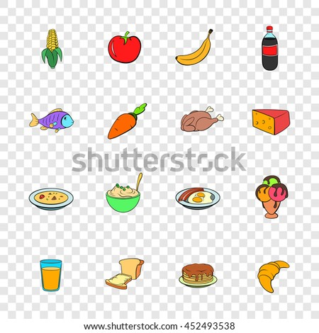 Food icons set in pop-art style with transparency for design - stock photo
