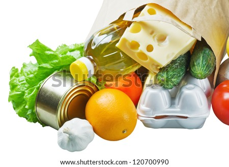 food in a paper bag - stock photo