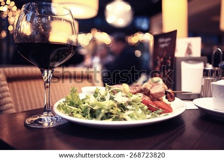 food in the restaurant, table, background - stock photo