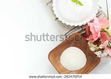 Food ingredient, Agar gelatin powder with jelly on background - stock photo