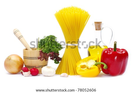 food ingredients isolated on white background - stock photo