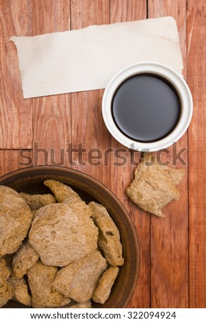 Food ingredients made from soy - soy meat and sauce. - stock photo