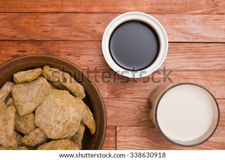 Food ingredients made from soy - soy meat, sauce and soy milk. - stock photo