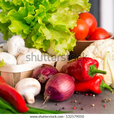 Food ingredients on the kitchen table closeup shot - stock photo