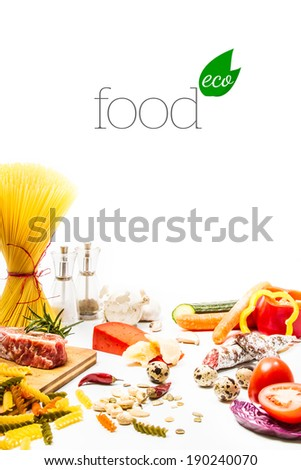 Food ingredients scattered around the white background. Isolated with light shadow. Eco food concept - stock photo
