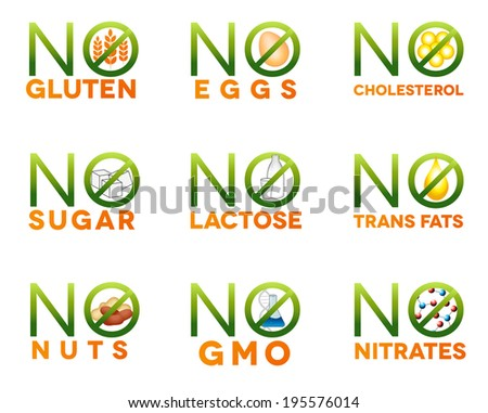 Food intolerance icons, health care diets such as no gluten, no sugar, no nuts, no GMO, no nitrates, no trans fats, no cholesterol, no eggs, no lactose. Isolated on white background. - stock photo