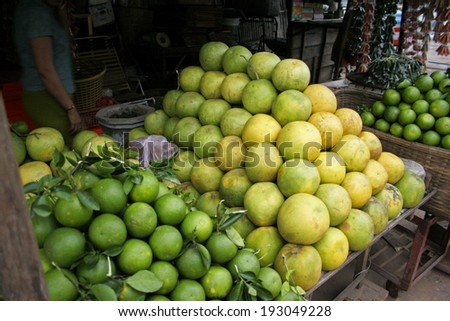 Food market in Battambang in Cambodia in South East Asia - stock photo