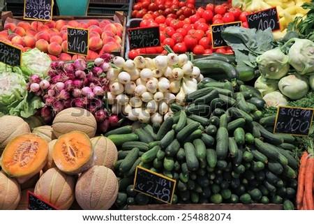 Food market in Budapest, Hungary (Great Market Hall). Fresh produce marketplace. - stock photo
