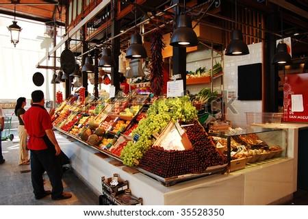 Food market in Madrid - stock photo