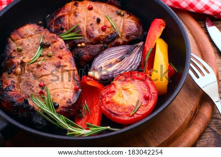 Food. Meat barbecue with vegetables - stock photo