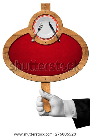 Food Menu / Hand of waiter with white glove holding a wooden pole with an oval sign with wooden frame and white plate with silver cutlery. Isolated on a white background - stock photo