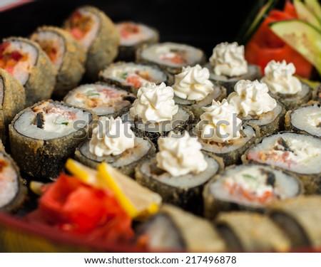 food menu sushi - stock photo