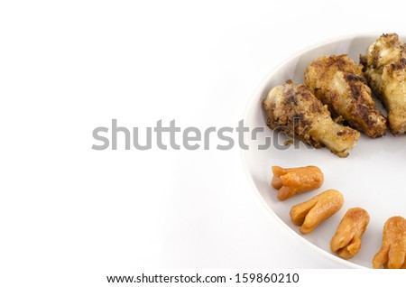 food mini sausage and fired chicken isolated on white background - stock photo
