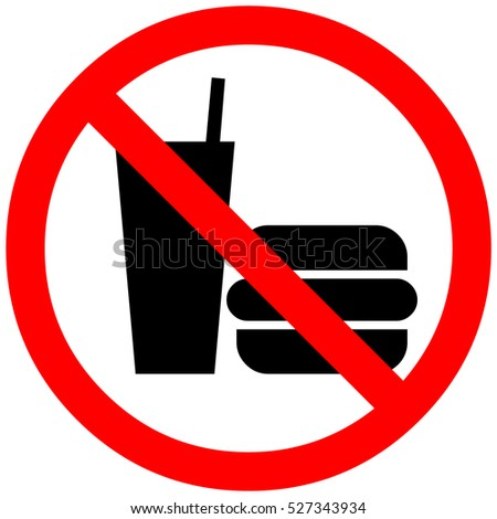 Food not allowed sign in red circle. Icon restriction eating on white background. Healthy food concept. Sticker silhouette hamburger forbidden eating. Flat image. illustration.