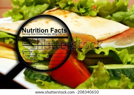 Food nutrition facts - stock photo