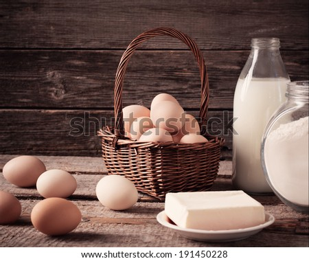 food on wooden background - stock photo