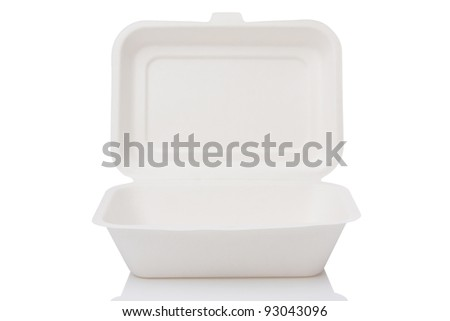 food paper box isolated on white - stock photo