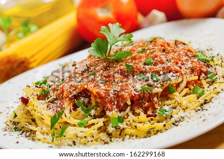 Food, Pasta and ingredients, close-up shot - stock photo
