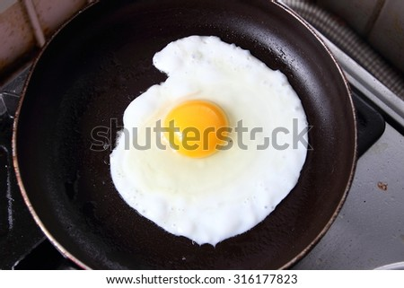 Food photography closeup photo of bullseye egg fried in a pan