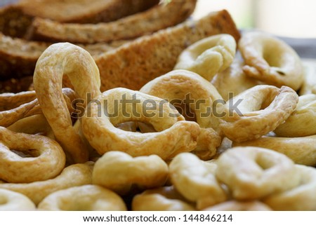 Food Photography, Traditional Italian snack from Puglia, Taralli - stock photo