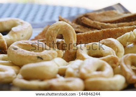 Food Photography, Traditional Italian snack from Puglia, Taralli - stock photo