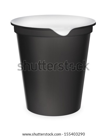 Food plastic container , dessert, yogurt, ice-cream, sour cream with cover. Packing for the isolation of the product on a white background with reflections and soldering black color  - stock photo
