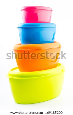 Food plastic container on isolated white background - stock photo