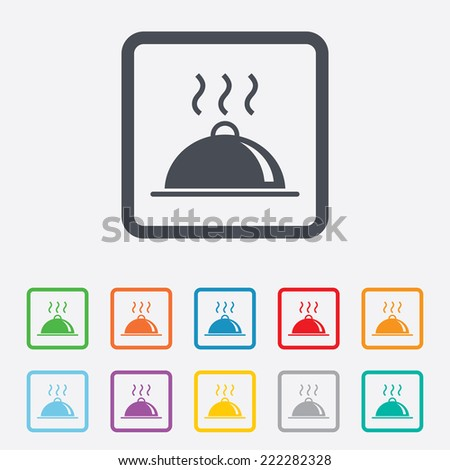 Food platter serving sign icon. Table setting in restaurant symbol. Hot warm meal. Round squares buttons with frame. - stock photo