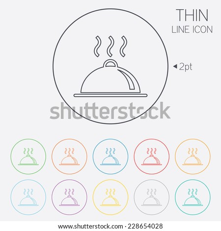 Food platter serving sign icon. Table setting in restaurant symbol. Hot warm meal. Thin line circle web icons with outline. - stock photo