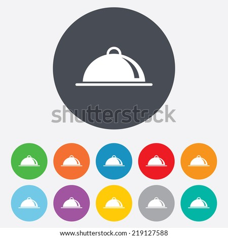 Food platter serving sign icon. Table setting in restaurant symbol. Round colourful 11 buttons. - stock photo