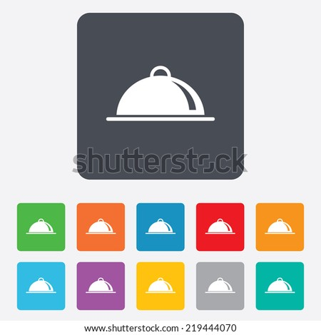 Food platter serving sign icon. Table setting in restaurant symbol. Rounded squares 11 buttons. - stock photo