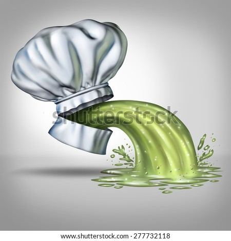 Food poisoning concept and foodborne illness as a chef hat with an open mouth with vomit projecting as a symbol for tainted mealscaused by bacteria as salmonella or gastroenteritis contamination. - stock photo