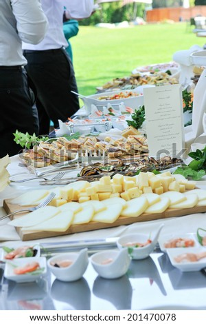 food preparation at the outdoor wedding - stock photo