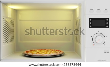Food Preparing Concept. Close-up View of Open Microwave Oven with Pizza Inside - stock photo