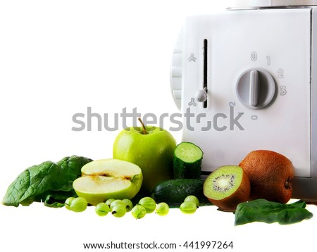 Food processor with blender  blending ingrideints for green smoothie (spinach, apple, kiwi, gooseberry) and ice.Isolated.closeup - stock photo