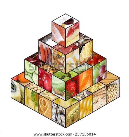 Food pyramid displaying healthy diet: grain, fruits and vegetable as bases; less fat, sweet and alcohol - stock photo