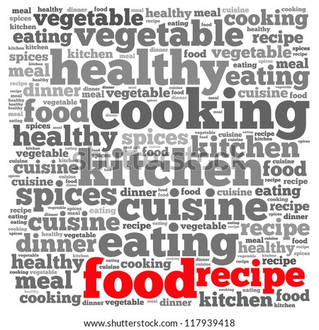 Food recipe info-text graphics and arrangement concept on white background (word cloud) - stock photo