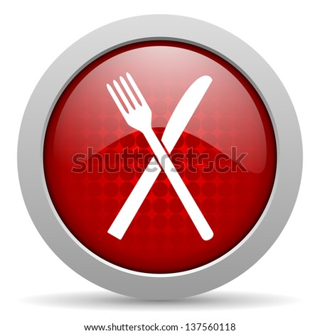 food red circle web glossy icon