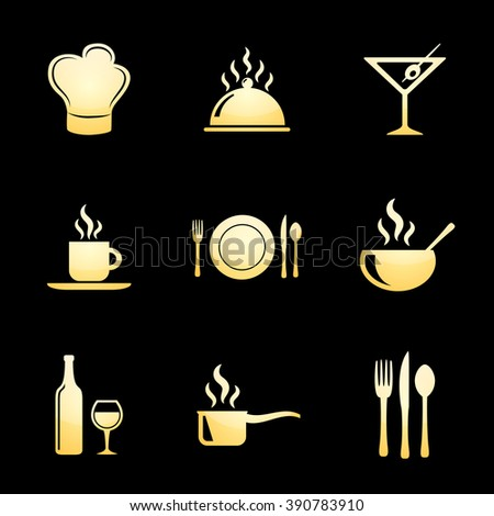 Food & Restaurant Icon Set with Gold Icons - stock photo