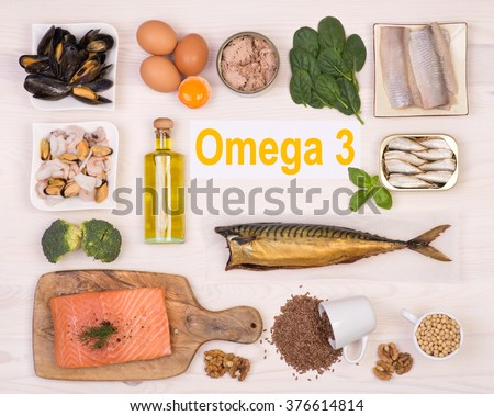 Food rich in omega 3 fatty acid - stock photo