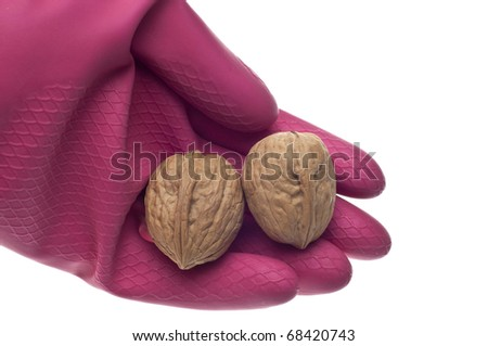 Food Safety Concept with Gloved Hand Holding Food.  Isolated on White.