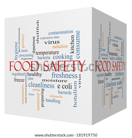 Food Safety 3D cube Word Cloud Concept with great terms such as hazards, e coli, cooking and more. - stock photo