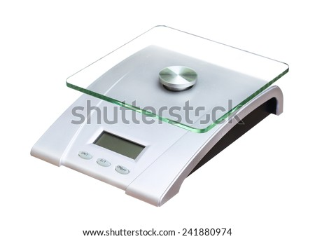 food scale electronic and digital isolated on white background - stock photo