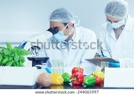 Food scientists using the microscope for research at the university