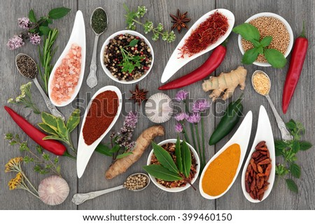Food seasoning with herb and spice selection in china bowls and silver spoons over distressed grey wooden background. - stock photo
