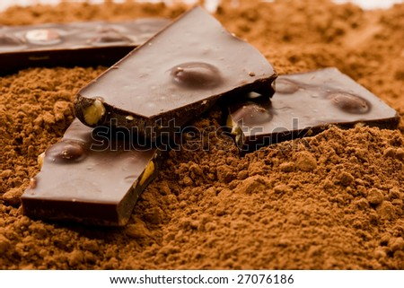 food series: broken down chocolate on cacao powder